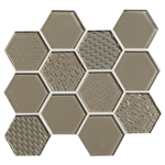 American Olean Color Appeal Entourage Felicity Hexagon Glass - C105 Plaza Taupe - Glass Tile Mosaic