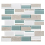 "American Olean Color Appeal Blends - C136 Pacific Coast Blend - 3"" X Random Interlocking Glass & Stone Mosaic Tile"