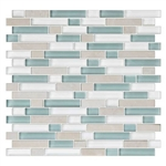 American Olean Color Appeal Blends - C136 Pacific Coast Blend - 5/8 X Random Linear Interlocking Glass & Stone Mosaic Tile - Glossy