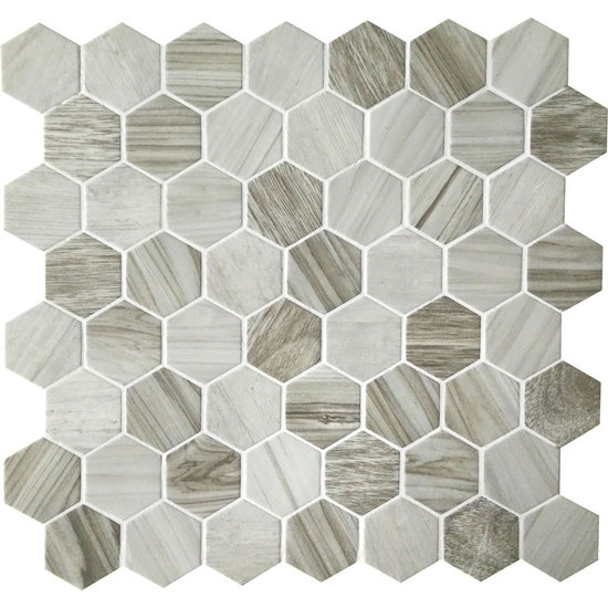 American Olean Entourage Crosswood Hexagon Glass CR Seagull - American olean 4x4 wall tile