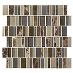 "American Olean Entourage Jubilance - JB04 Glee Blend - 2"" X Random Interlocking Glass & Stone Mosaic Tile"
