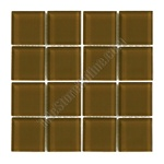 American Olean - Legacy Glass - LG32 Leather Brown - 1 X 1 Square Glass Tile Mosaic - Glossy - ODD LOT SUPER DEAL