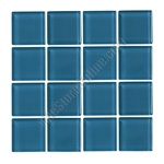 American Olean - Legacy Glass - LG34 Dusk Blue - 1 X 1 Square Glass Tile Mosaic - Glossy - ODD LOT SUPER DEAL