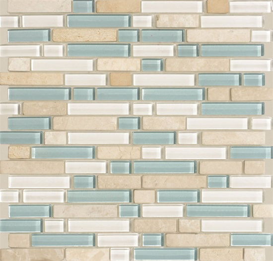 American Olean Legacy Glass Lg45 Arctic Glass Tile And Stone Blend 5 8 X Random Linear