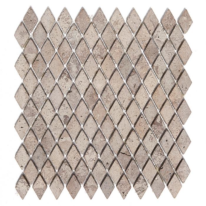 Tumbled Mini Rhomboid Travertine Mosaic Mexican Durango Chocolate - Closeout travertine tile