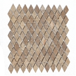 Polished Mini Rhomboid Travertine Mosaic - Mexican Durango Chocolate Noche Color - ODD LOT SUPER DEAL