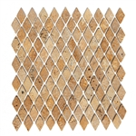 Tumbled Mini Rhomboid Travertine Mosaic - Mexican Durango Gold San Luis - ODD LOT SUPER DEAL
