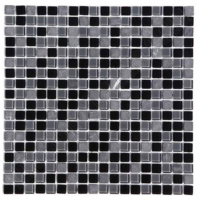 Gl And Stone Mosaic Tile Matrix 4 Gl12 Carbone Blend 5 8 X Black