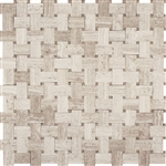 Basketweave Marble Mosaic Tile - White Oak Wood Silver Beige Basket Weave with Athens Gray Marble Dot - Polished