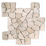 Flat Pebble Stone Mosaic - Kuta White Interlocking Flat Cut Stone Mosaic - Tumbled