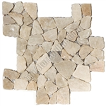 Flat Pebble Stone Mosaic - Transparent Onyx Interlocking Flat Cut Stone Mosaic - Tumbled