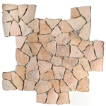 Flat Pebble Stone Mosaic - Yucatan Brown Interlocking Flat Cut Stone Mosaic - Tumbled
