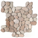 River Rock Pebble Stone Mosaic - Caramel Dark Pink Interlocking Pebble Mosaic