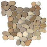 River Rock Pebble Stone Mosaic - Natural Olive Interlocking Pebble Mosaic
