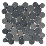 Circle Round Cut Pebble Stone - Bubble Gray Black Interlocking - Sliced Flat Round Cut Stone Mosaic
