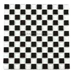 Glass Tile - 1 X 1 Glass Tile Mosaic - GA1002 Black and White Blend - Glossy