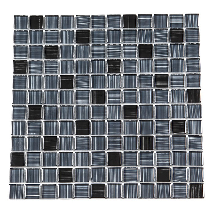 Glass Tile - 1X1 Linen Glass Tile Mosaic - GA1011 Gray Black Linen ...