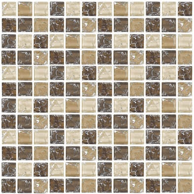 Crackle Glass Tile   1 X 1 Crackled Glass Tile Mosaic   GC1003 Earth Blend