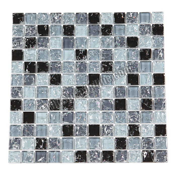 Crackle Glass Tile   1 X 1 Crackled Glass Tile Mosaic   GC1004 Black Steel  Blend  Crackled Glossy Glass