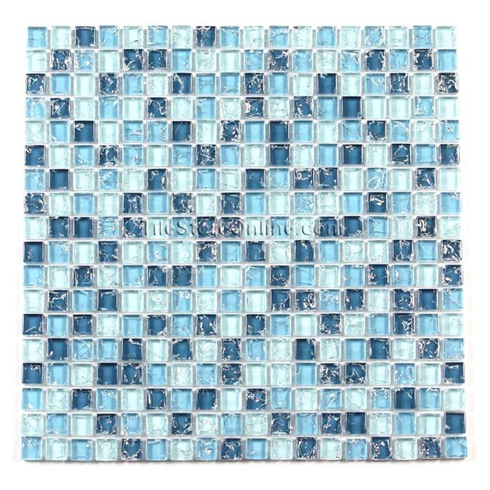 Crackle Glass Tile - 5/8 X 5/8 Crackled Glass Tile Mosaic - GC5001 Ocean  Blue Blend - Glossy