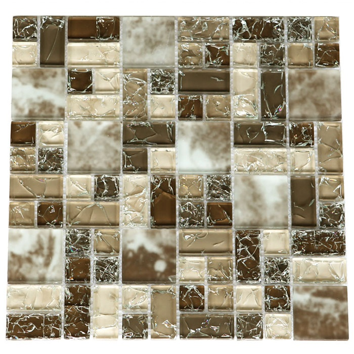 Sample Cream Crackle Glass Mosaic Tile Kitchen Backsplash: Various Sized Crackled Glossy Glass