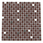 Glass Tile and Metal Tile Mosaic - 5/8 X 5/8 GI5001 - Glossy Glass Tile, Frosted Glass Tile, and Stainless Steel Metal Tile Mosaic