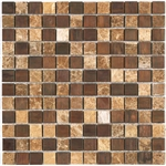 Stone and Metal Mosaic - 1 X 1 GS1003 Emperador Light Marble and Bronze Metal Mosaic