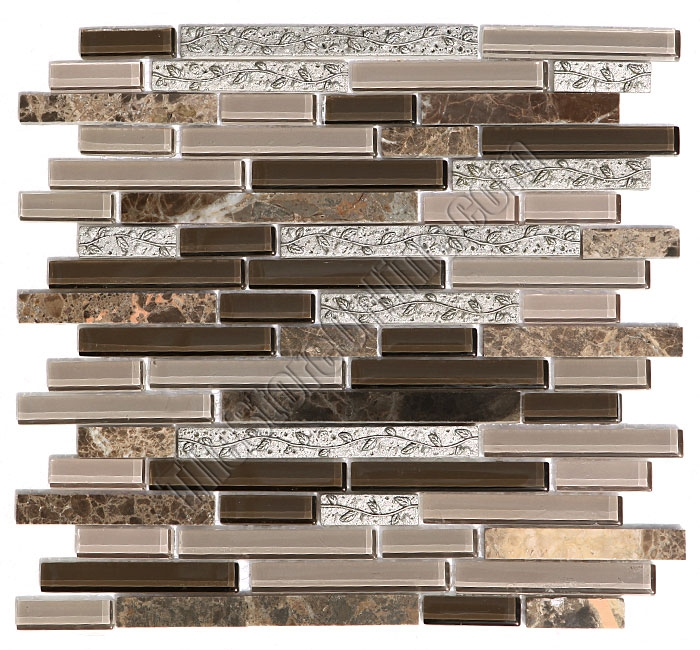 Sample Marble Green Brown Glass Linear Mosaic Tile: Linear Glass Stone And Metal Mosaic