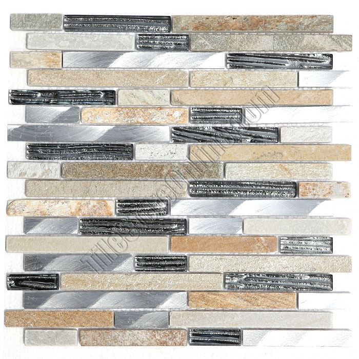Linear Glass Stone and Metal Mosaic GS4012 58 X Linear Strips