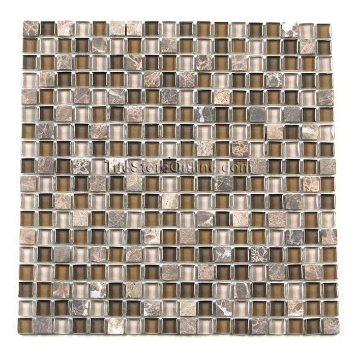 tumbled marble tile. Glass Tile And Tumbled Marble Mosaic - 5/8 X GS5001 Emperador Brown Glossy