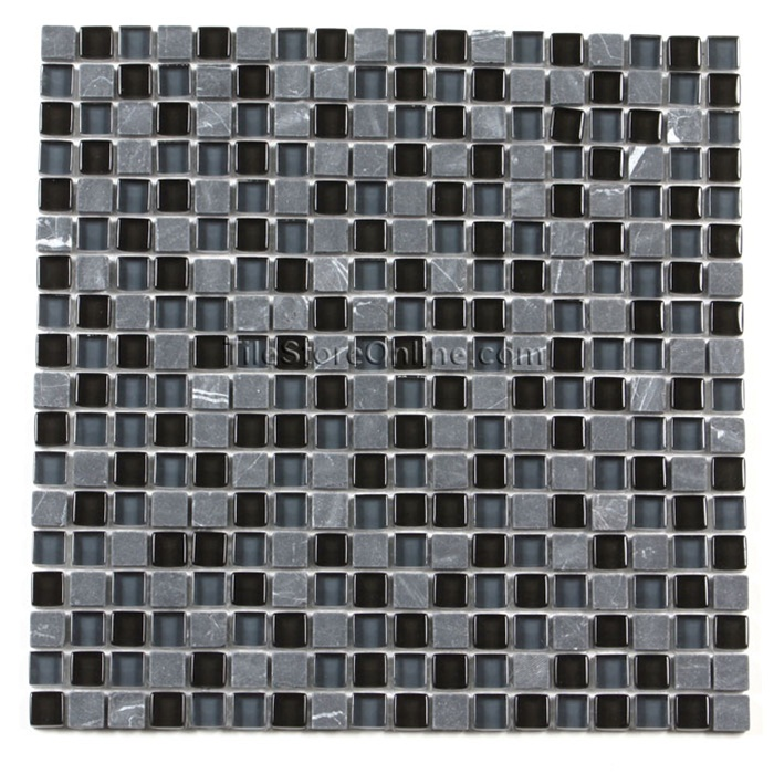 glass tile and tumbled marble mosaic 58 x 58 glass and marble tile mosaic gs5002 marquina black blend glossy glass and tumbled marble sample