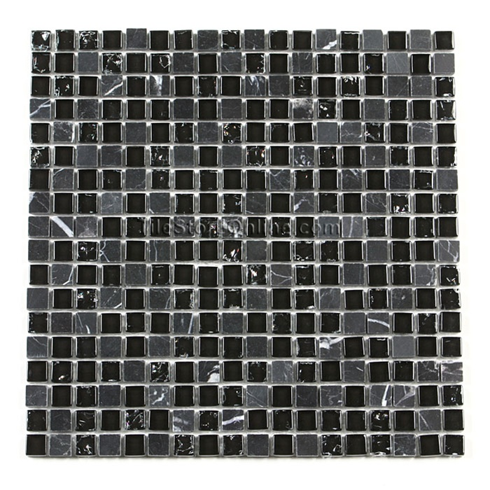 Crackle Glass Tile And Tumbled Marble Mosaic   5/8 X 5/8 GS5003 Crackled  Black Blend