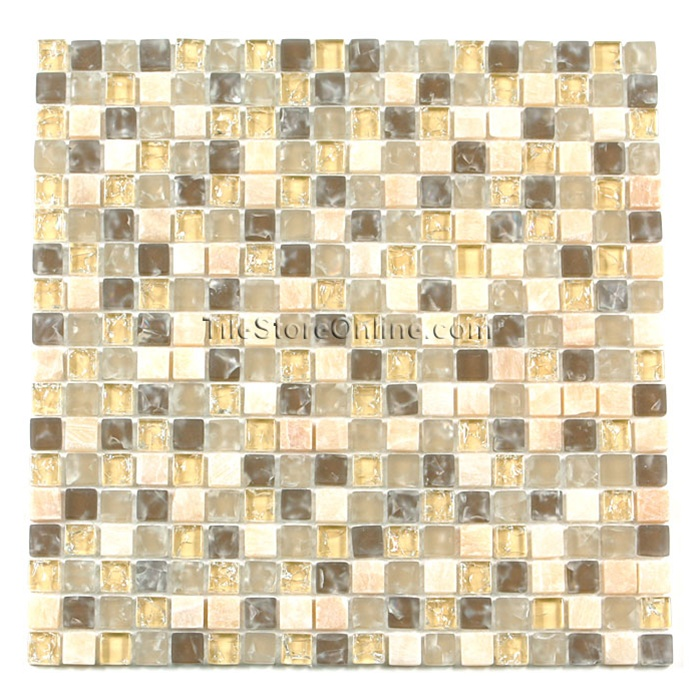 crackle glass tile and tumbled marble mosaic 58 x 58 gs5005 crackled desert blend