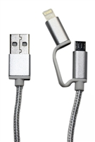 2 in 1 micro USB and Iphone cable Black