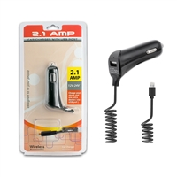 2.1 A iPhone Car Charger With Extra USB Port - BLACK