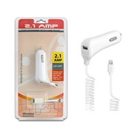 2.1 A iPhone Car Charger With Extra USB Port - White