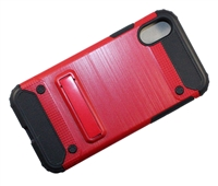 iPhone X Brushed Metallic Armor Case with Magnetic Kickstand - Red