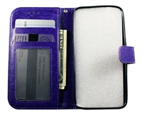 iPhone X Leatherette Wallet Case - Purple
