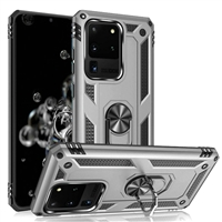 Samsung Galaxy S20 Ultra Magnetic Ring Stand Hybrid Case - SIlver