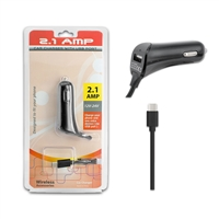 2.1 A Type C Car Charger With Extra USB Port - BLACK