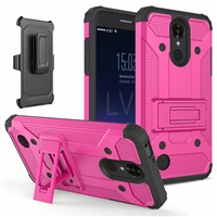 LG Aristo 2 X210 / Fortune 2 / Tribute Dynasty / Zone 4 Armor Holster Combo Case- Pink