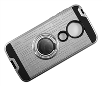 Moto G7 Play XT1952 Armor Case with Ring Holder Stand and Plate for Magnetic Holder - Silver