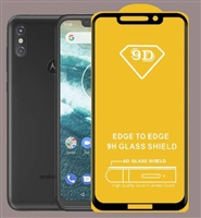 Full Coverage Tempered Glass Screen Protector for Motorola Moto G7 Power / Supra - Black