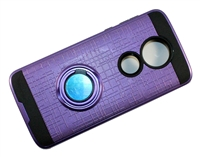 Moto G7 Power / Supra XT1955 Armor Case with Ring Holder Stand and Plate for Magnetic Holder - Purple