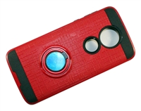 Moto G7 Power / Supra XT1955 Armor Case with Ring Holder Stand and Plate for Magnetic Holder - Red