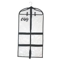 Simply Caddy Set of 3 Dance Costume Garment Bags Black Trim with 3 velvet hangers