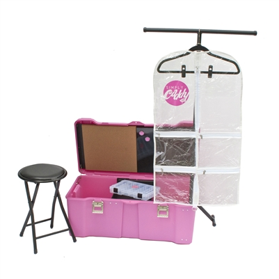 Caddy Combo 1 - Pink Caddy and White Trim Garment Bags