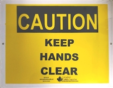 "Plastic Sign ""CAUTION keep hands clear"""