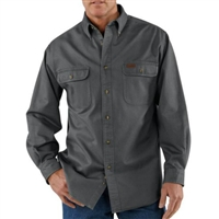 Carhartt men's 8-ounce 100% cotton ring-spun sandstone twill shirt with button down collar.