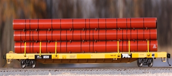 Walthers 89 foot flat with red pipe